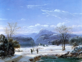 Hunters in a Winter Landscape 1856 Louis Rémy Mignot